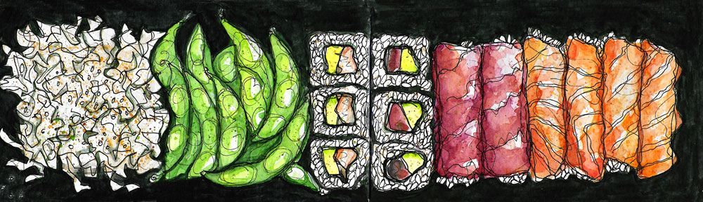 mushrooms, watercolor, puntarelle, bermondsey, london, watercolour, painting, sketchbook, pen and wash, food illustration, illustration, drawing, paint it then eat it
