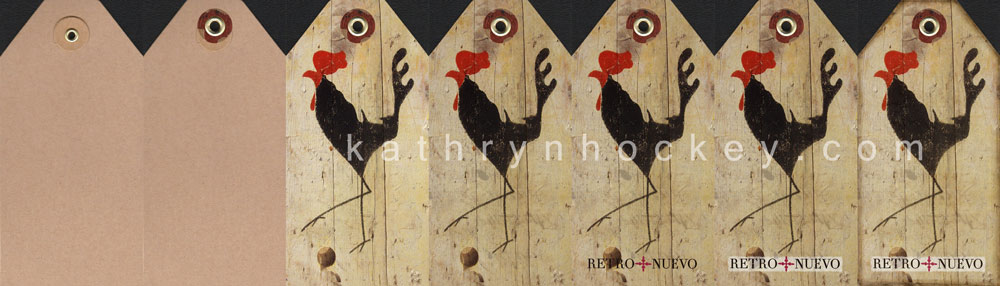 graphic design, Photoshop, process, cockerel, retronuevo, vintage, tag, tapas, wild olive, wood, chopping board