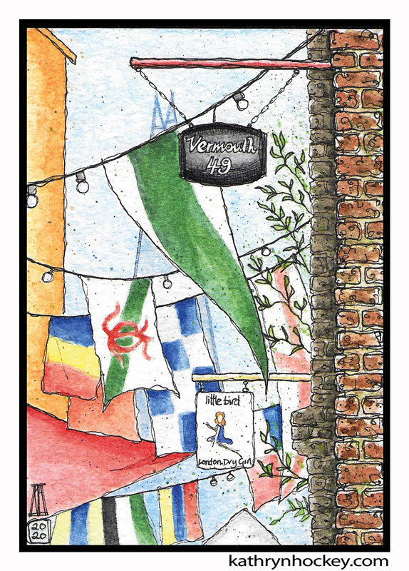 illustration, brooklyn art library, the sketchbook project, sketchbook, pen and wash, watercolour, watercolor, painting, drawing, urban landscape, urban sketching, corona virus lockdown 2020, bermondsey, london, se1, se16, rope walk, maltby street, food market, street market, flags, vermouth 49, little bird gin, shard