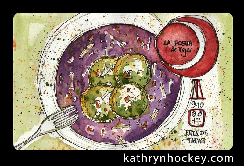tapas, ruta de tapas, tapas por vejer, vejer, vejer de la frontera, vejer sketchers, pen and wash, pen and watercolour, watercolor, sketch, illustration, food, pueblos mas bonitos de espana, drawing, painting, sketchbook, pasta, ricotta, spinach, red onion sauce, la posta, italian restaurant
