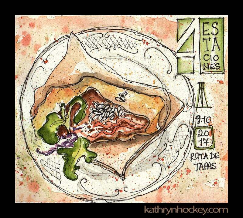 tapas, ruta de tapas, tapas por vejer, vejer, vejer de la frontera, vejer sketchers, pen and wash, pen and watercolour, watercolor, sketch, illustration, food, 4 estaciones, restaurant, pueblos mas bonitos de espana, drawing, painting, sketchbook, beef tartar