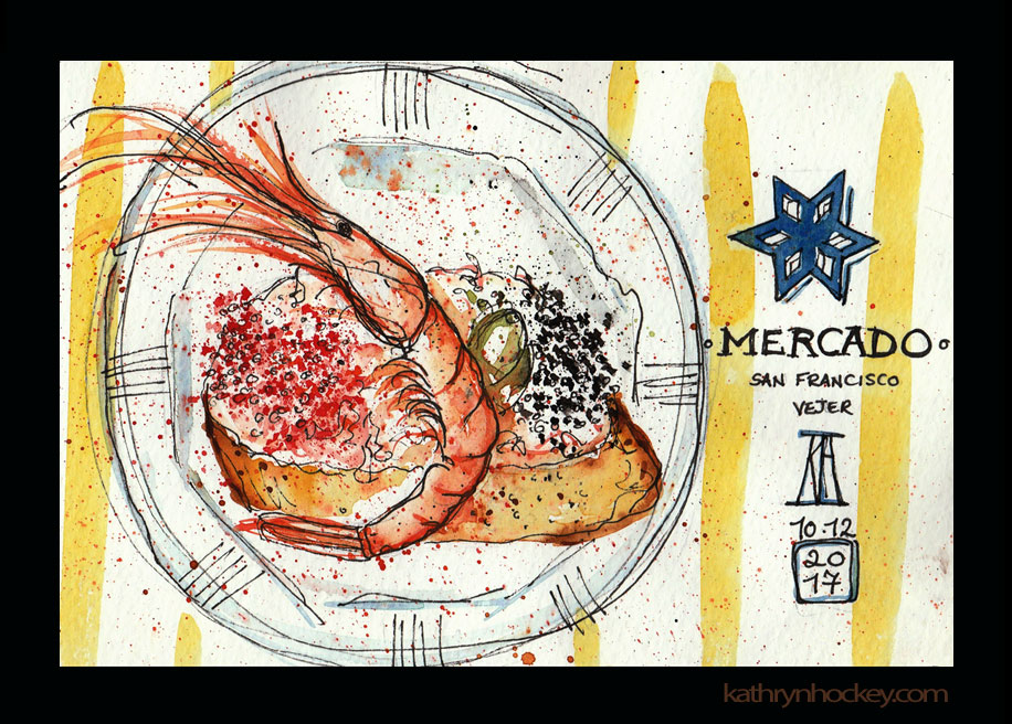 tapas, ruta de tapas, tapas por vejer, vejer, vejer de la frontera, vejer sketchers, pen and wash, pen and watercolour, watercolor, sketch, illustration, food, pueblos mas bonitos de espana, drawing, painting, sketchbook, gamba, langostino, mercado de abastos, market, street food, fish, roe, mercado de san francisco