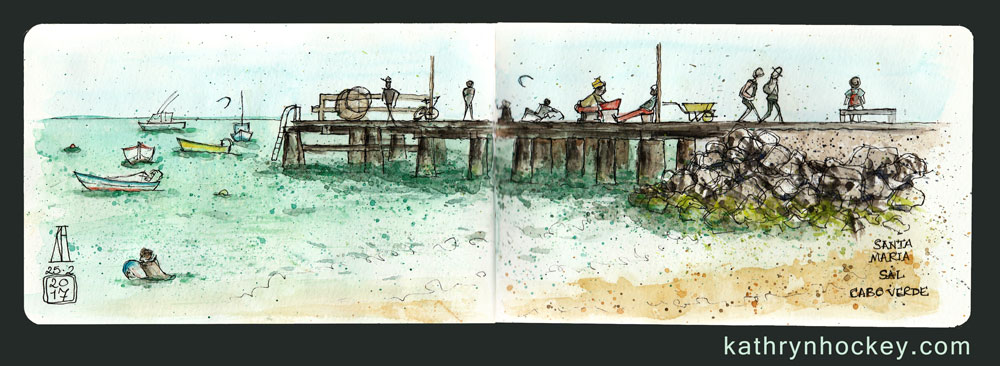 santa maria, sal, cape verde, cabo verde,, water color. pen and watercolour, sketch, travel, illustration