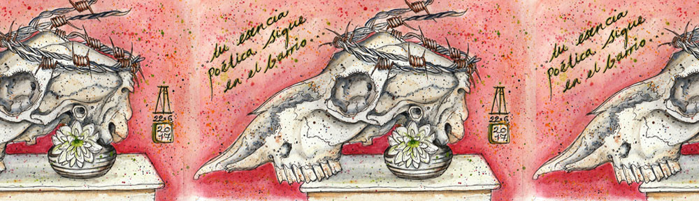 sheep, skull, barbed wire, flower, still life, pen and watercolour, watercolour, water color, acuarela, sketch, illustration, tribute, death