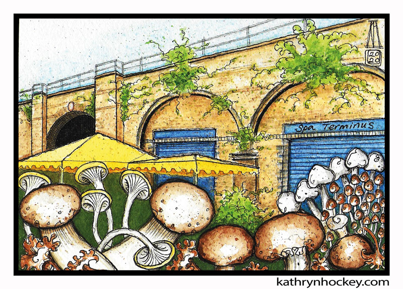 food, illustration, brooklyn art library, the sketchbook project, sketchbook, pen and wash, watercolour, watercolor, painting, drawing, urban landscape, urban sketching, corona virus lockdown 2020, bermondsey, london, se16, spa road, spa terminus, railway arches, independent business, mushrooms, fruit and veg, market, fresh produce, railway line