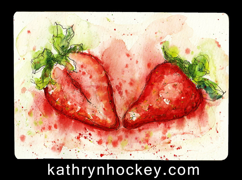fruit, food, drawing, water colour, sketch, pen and watercolour, juicy, strawberries, strawberry