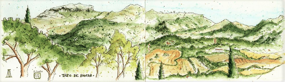 ronda, tajo de ronda, malaga, andalucia, catalonia reina victoria, hotel, spa, view, valley, tajo valley, landscape, pen and watercolour, sketch, watercolor, watercolour, sketchbook, travel, illustration, paisaje, acuarela