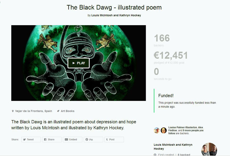 funded, crowdfunding, the black dawg, kathryn hockey, artist. illustrator, louis mcintosh, writer, poet, author, illustrated poem, depression. hope, picture book, illustration, mental health, black dog, kickstarter, snorkel, drowning, deep, dark, sea