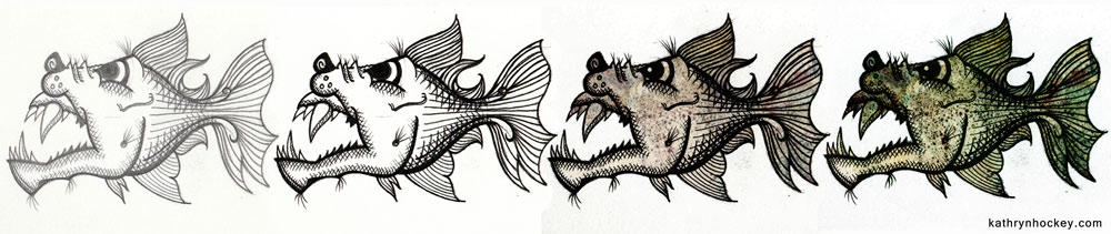 pirahna, deep, dark, sea, sketch book, sketch, demons, poem, illustration, mental health, black dog, the black dawg, illustrated poem, depression, hope, illustration, digital collage, kickstarter, photoshop