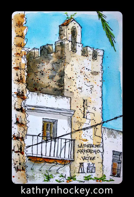plaza de espana, vejer, vejer de la frontera, vejer sketchers, pen and watercolour, watercolour, water color, acuarela, sketch, illustration, torre del mayorazgo