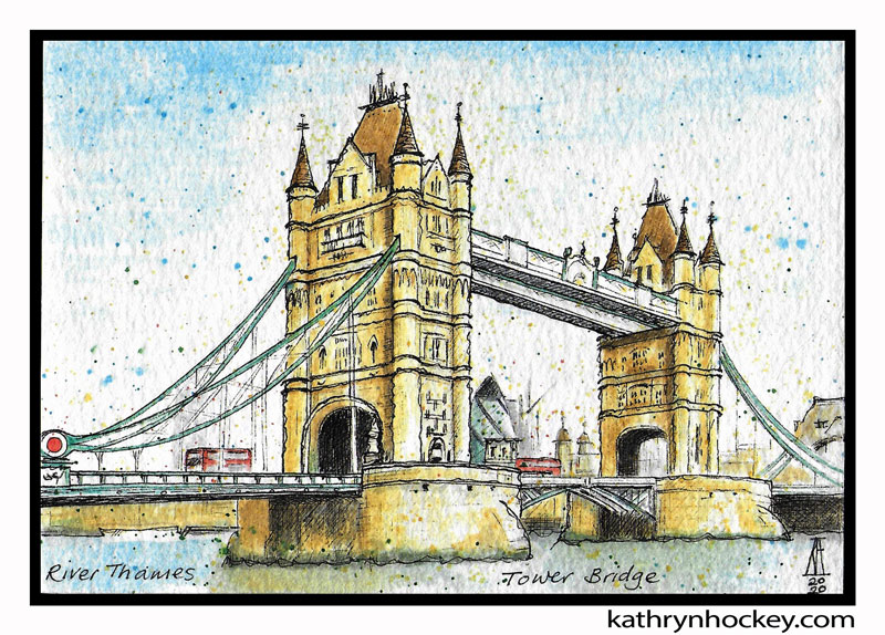 illustration, brooklyn art library, the sketchbook project, sketchbook, pen and wash, watercolour, watercolor, painting, drawing, urban landscape, urban sketching, corona virus lockdown 2020, bermondsey, london, se1, se16,, tower bridge, river thames, gerkin building, london bus