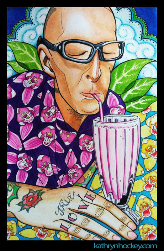 portrait, watercolor, painting, drawing, sketchbook, food illustration, travel blog, illustration, watercolour, pen and wash, tattoos, tattooed man, true love, lassi, orchids, flowers, leaves, glasses, bald head, clouds, pink drink