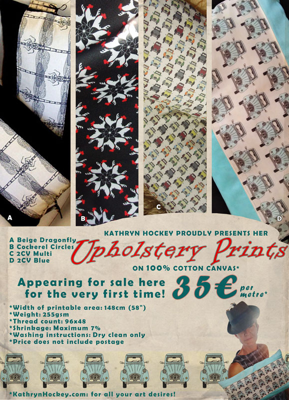 cotton, fabric, textile, design, digital printing, surface pattern, surface design, cotton, home sewing, dragonfly, cockerel, rooster, 2cv, car, prints, upholstery, woven monkey