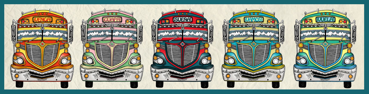 chicken bus, illustration, pencil, drawing, digital illustration, venga, guapa, suena, vamos, vuela