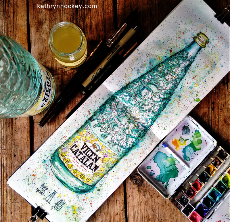 vichy catalan, agua con gas, sparkling water, vicen, pen and watercolour, watercolour, water color, acuarela, sketch, illustration