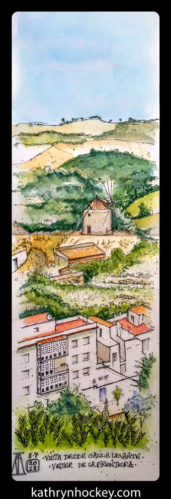 molino, windmill, calle levante, vejer, vejer de la frontera, vejer sketchers, pen and watercolour, watercolour, water color, acuarela, sketch, illustration