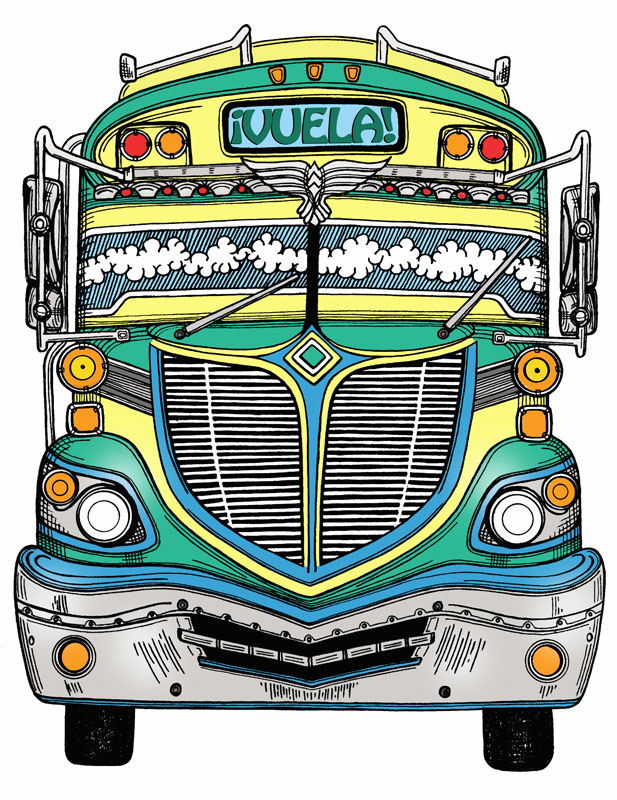 vuela, chicken bus, illustration