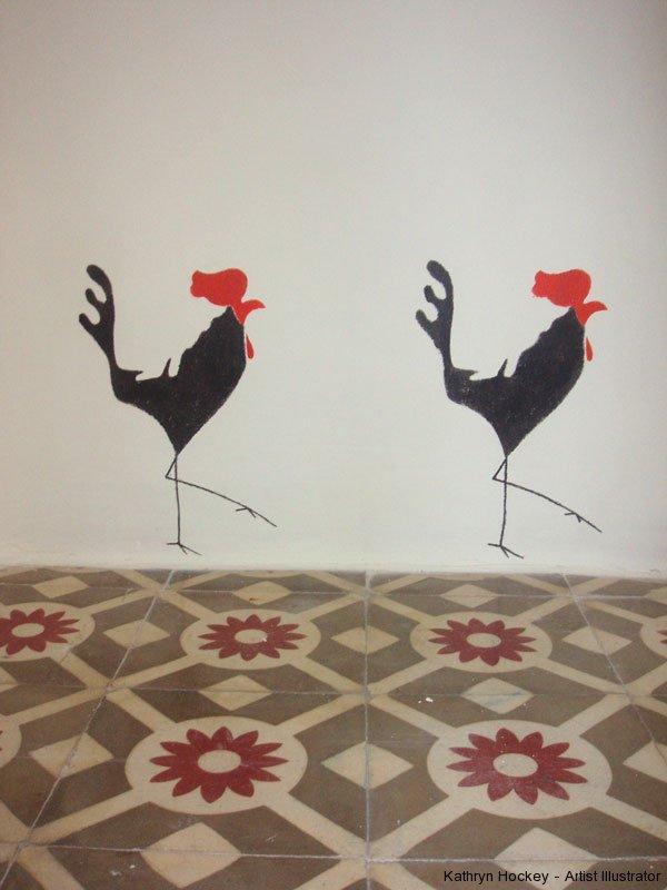 casa-del-arco-cockerels1-kathryn-hockey-artist-illustrator