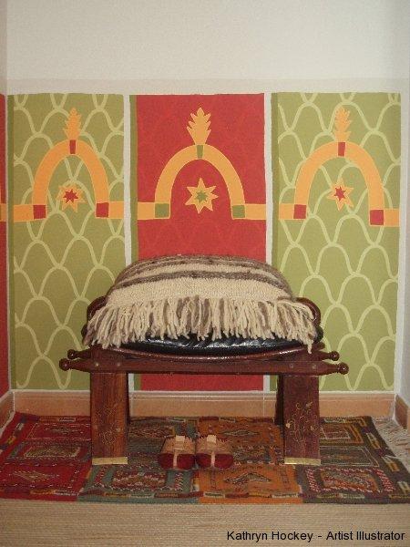 moroccan fabric mural-detail-kathryn hockey artist illustrator