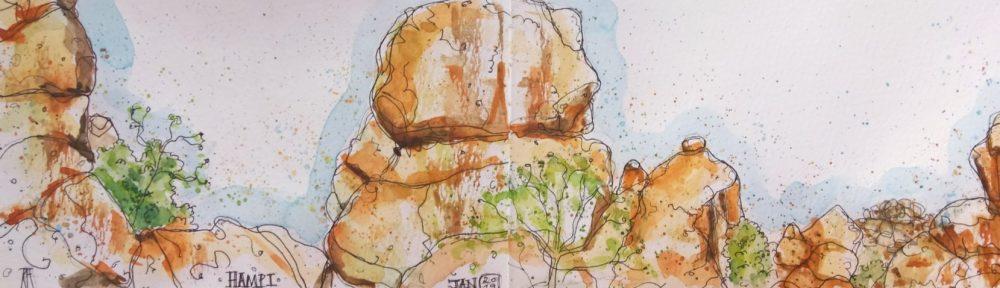 hampi, karnataka, india, hampi rocks, rocks, travel, illustration, pen and wash, watercolor, watercolour, painting, drawing, sketch, sketchbook