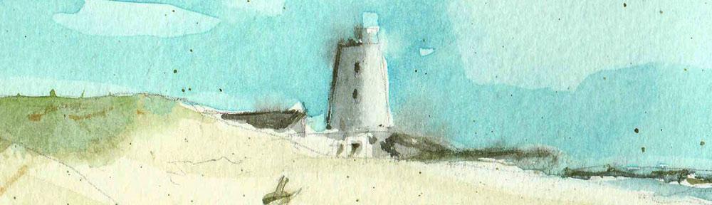 ocean, atlantic, watch tower, beach, sand dunes, playa, el palmar, andalucia, vejer de la frontera,, watercolour, watercolor, sketch, drawing