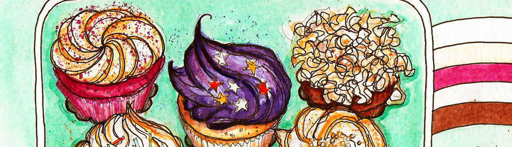 lolas cup cakes, cup cakes, cake, watercolor, too good to go, fight food waste, watercolour, painting, sketchbook, pen and wash, food illustration, illustration, drawing