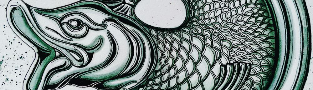 still life, ceramic, fish, gurgle jug, jug,, pen and watercolour, watercolour, water color, acuarela, sketch, illustration