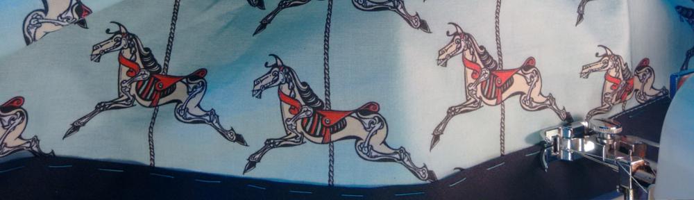 horse, sketelon, carousel, roundabout, merry-go-round, cotton, fabric, surface design, illustration, textile design, woven monkey, bias binding, dress making, shift, dress, sewing, homemade