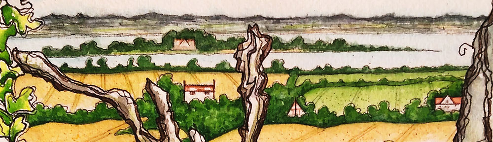 osea island, essex, english countryside, landscape, painting, drawing, watercolour, pen and wash, illustration, river, trees, fields, essex county