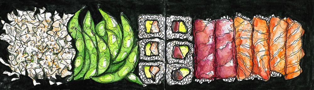 mushrooms, watercolor, puntarelle, bermondsey, london, watercolour, painting, sketchbook, pen and wash, food illustration, illustration, drawing, paint it then eat it
