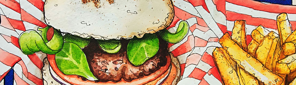 yen burger, london, burger, chips, fries, stripes, watercolour, watercolor, painting, drawing, sketch, sketchbook, food, food illustration, illustration, pen and wash